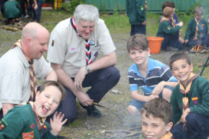 Adam with Denmead Cubs 'helping' with the cookout!